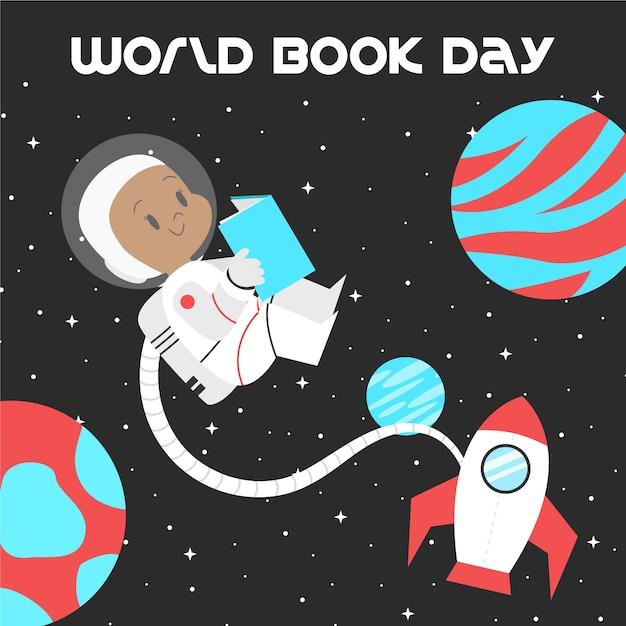 Lettura dell'astronauta di giornata mondiale del libro nello spazio Vettore gratuito