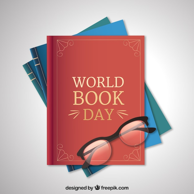 World book day background in realistic style Free Vector