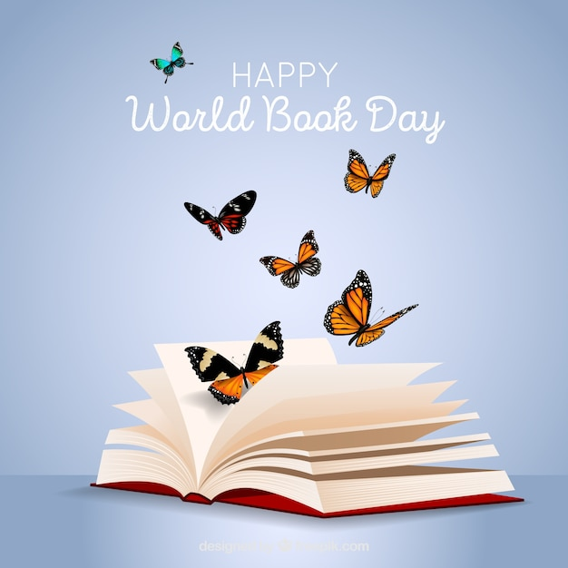 World book day background with butterflies in realistic style Free Vector