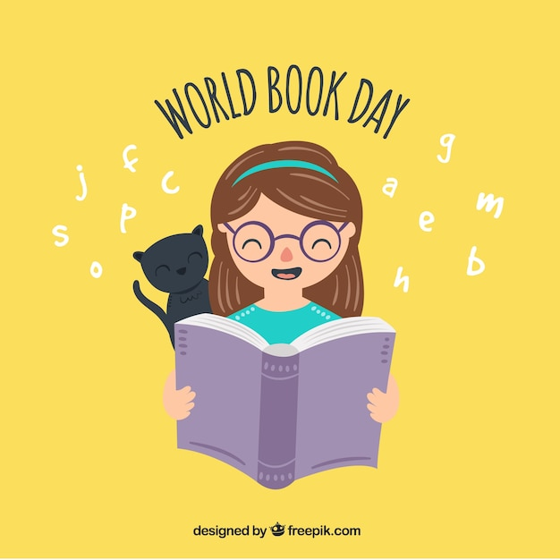 World book day background with girl and cat Free Vector