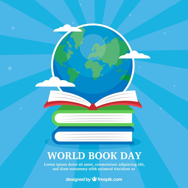 World book day background with globe Free Vector