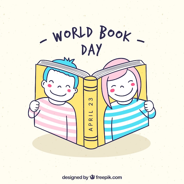 World book day background with kids Premium Vector