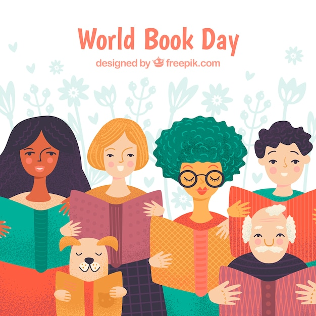 World book day background with people reading Free Vector