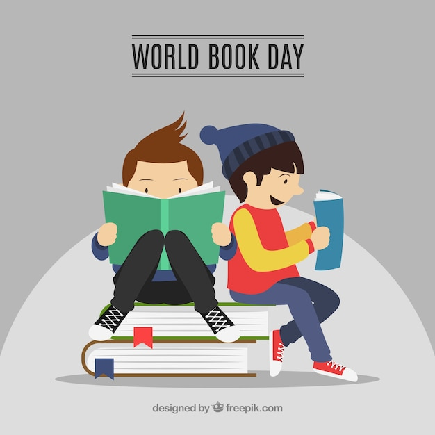 World book day background with reading kids Free Vector