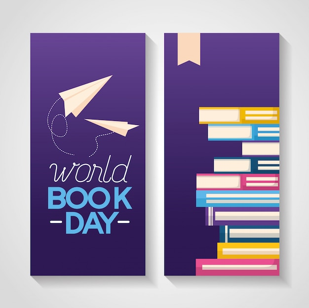 World book day banner Free Vector