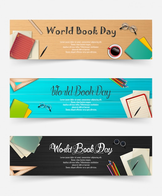 World book day banners template Premium Vector
