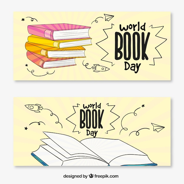 World book day banners with books in hand-drawn style Free Vector