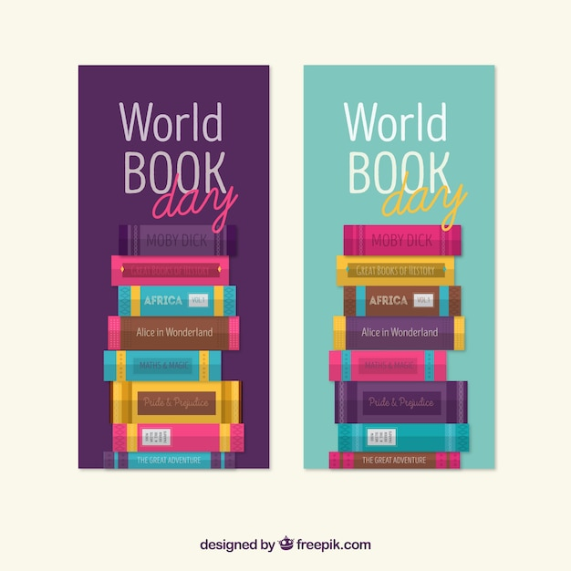 World book day banners with colored books in flat design Free Vector