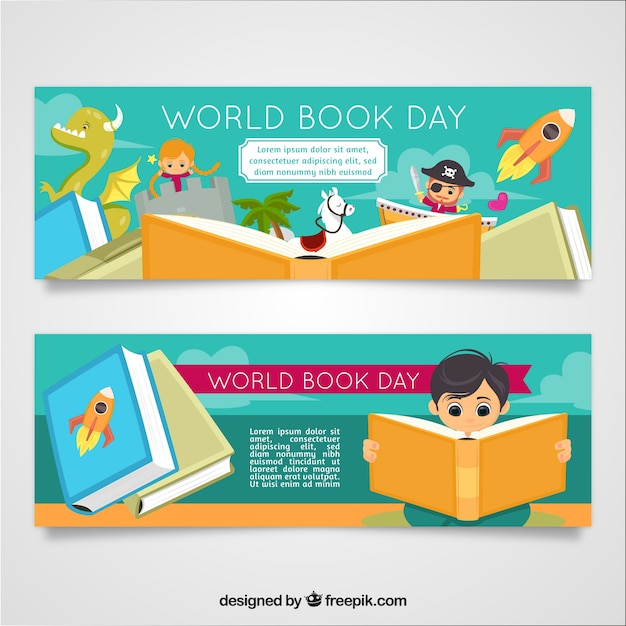 World book day banners with kids Free Vector