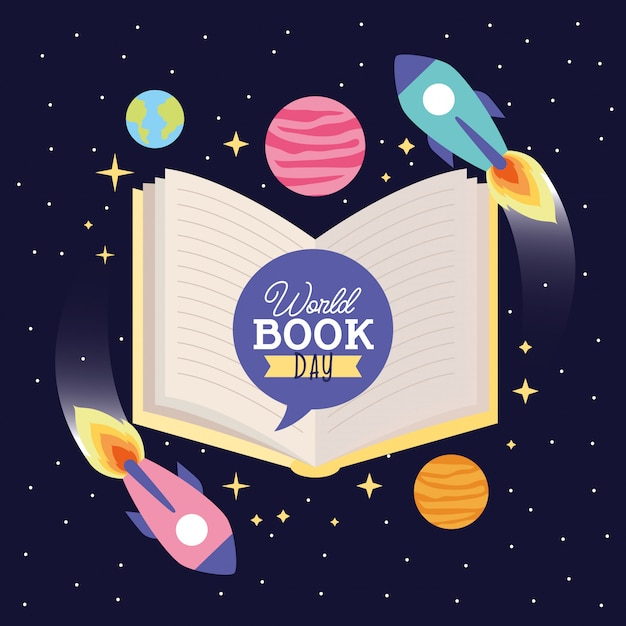 World book day card Premium Vector
