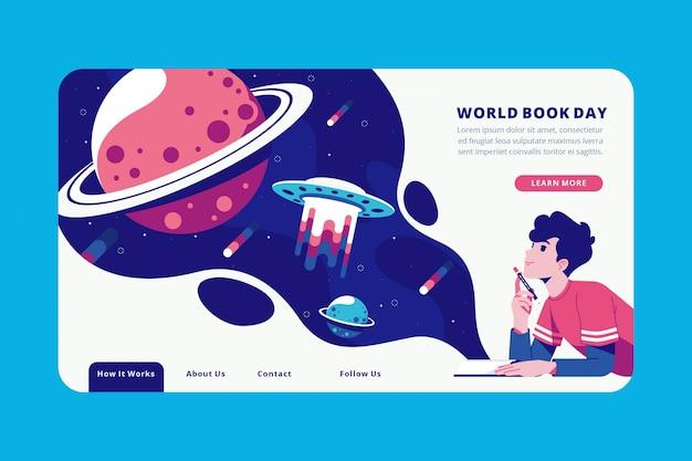 World book day creative landing page Premium Vector