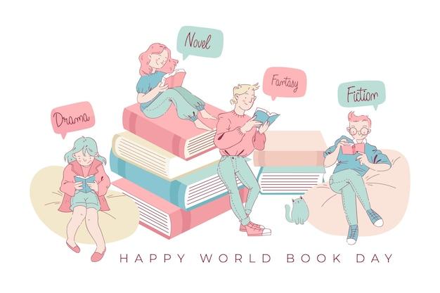 Lettura in famiglia della giornata mondiale del libro Vettore gratuito