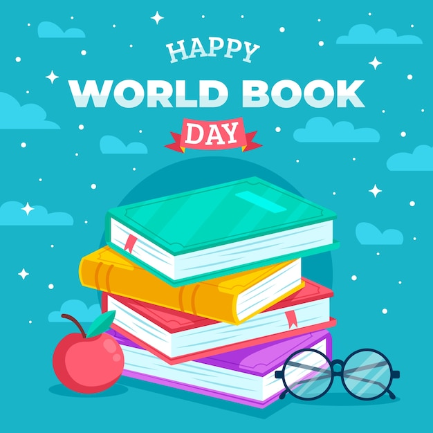 World book day flat design Premium Vector