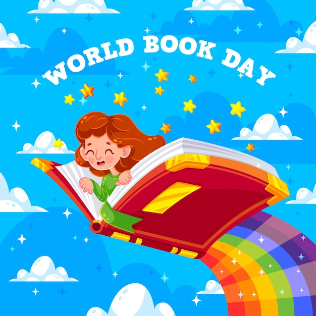 World book day and girl flying on rainbow Free Vector