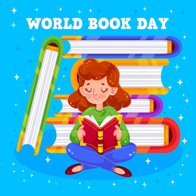 World book day and girl reading Free Vector