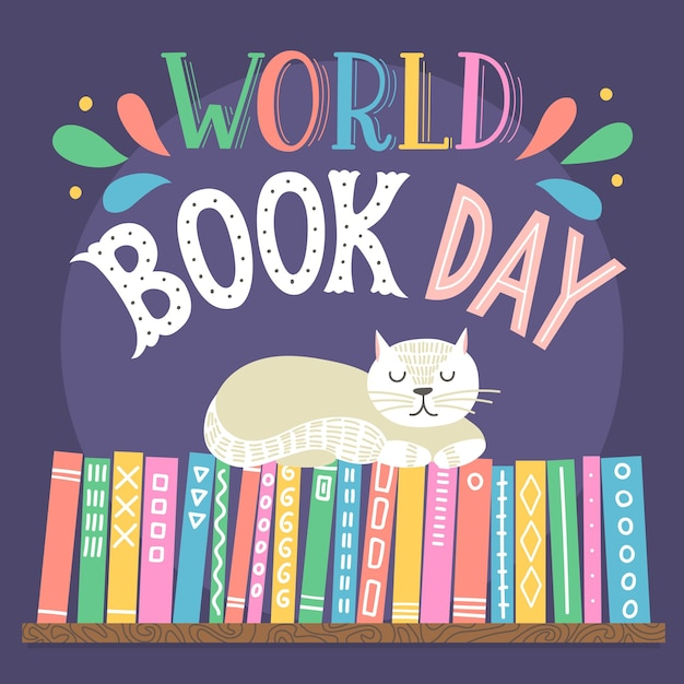 World book day. hand drawn cat sleeping on books shelf with lettering. Premium Vector