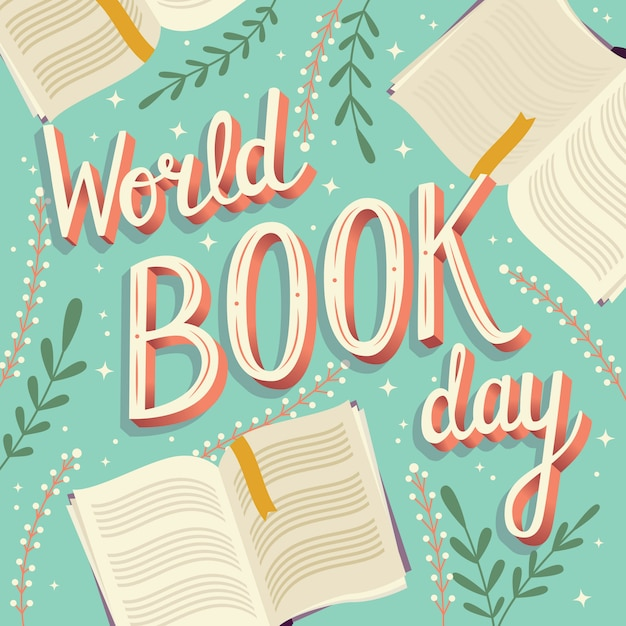 World book day, hand lettering Premium Vector