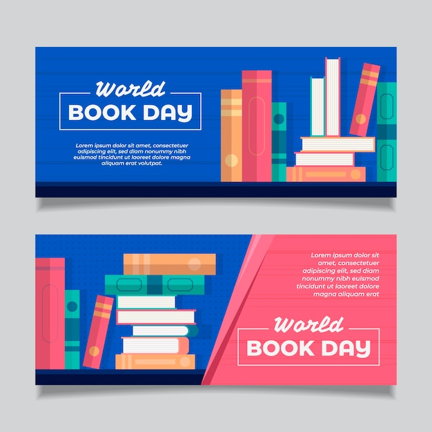 World book day horizontal banners Free Vector