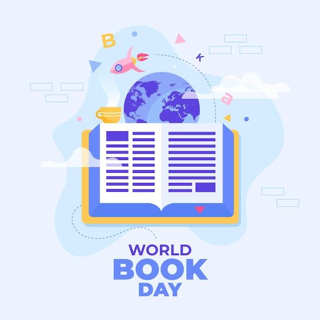 本と惑星の世界図書日イラスト 無料ベクター
