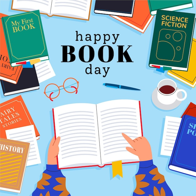 World book day illustration with books Free Vector