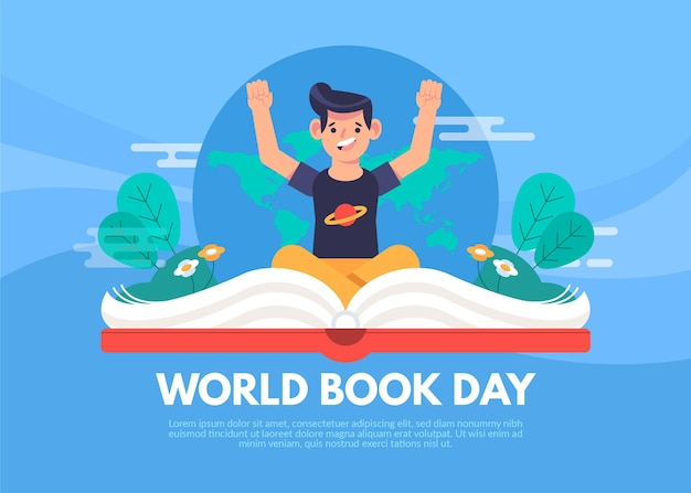 World book day illustration with man and open book Free Vector