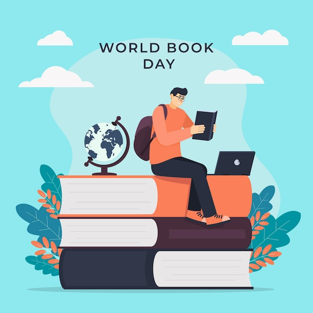World book day illustration with man reading book Free Vector