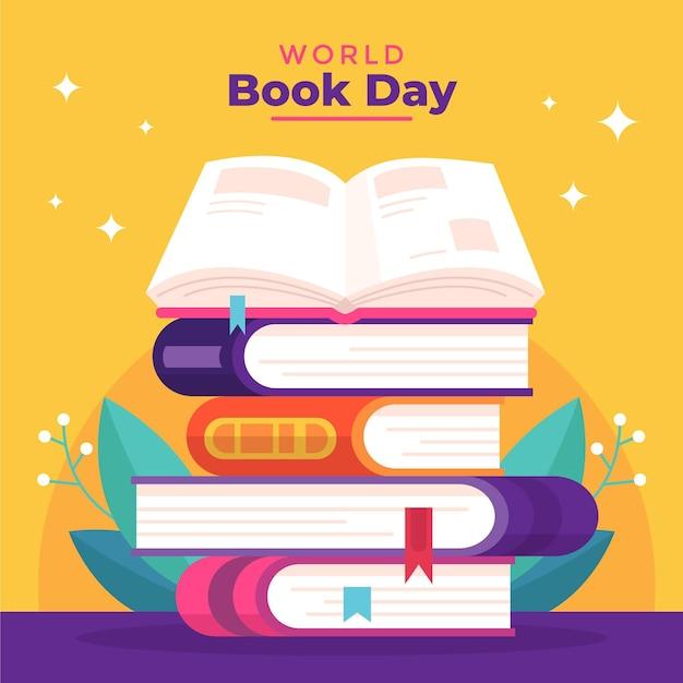 本のスタックと世界図書の日のイラスト 無料ベクター