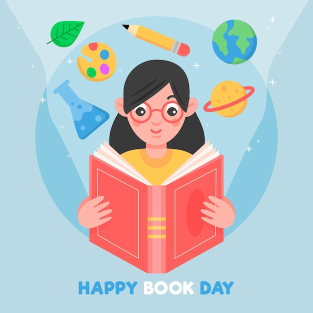 World book day illustration with woman reading book Free Vector