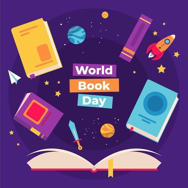 世界図書の日のイラスト 無料ベクター