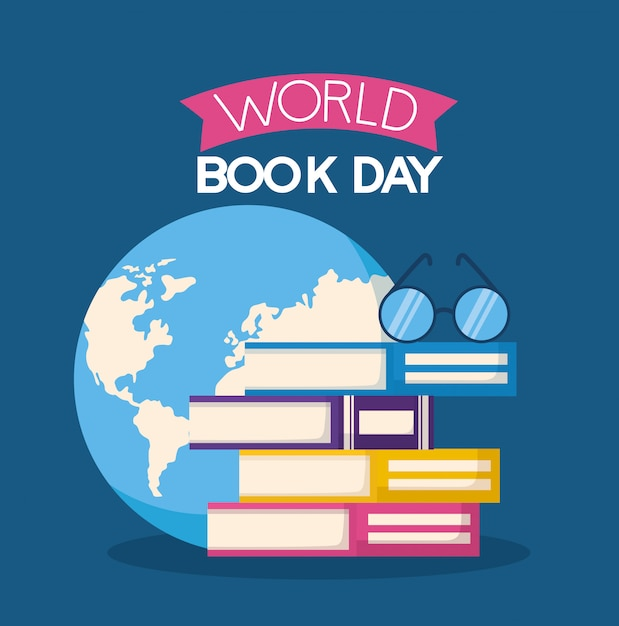 World book day illustration Free Vector