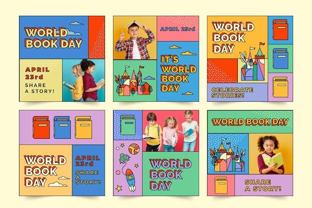 Всемирный день книги в instagram Бесплатные векторы