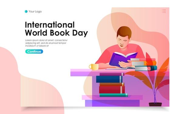 World book day landing page illustration Premium Vector