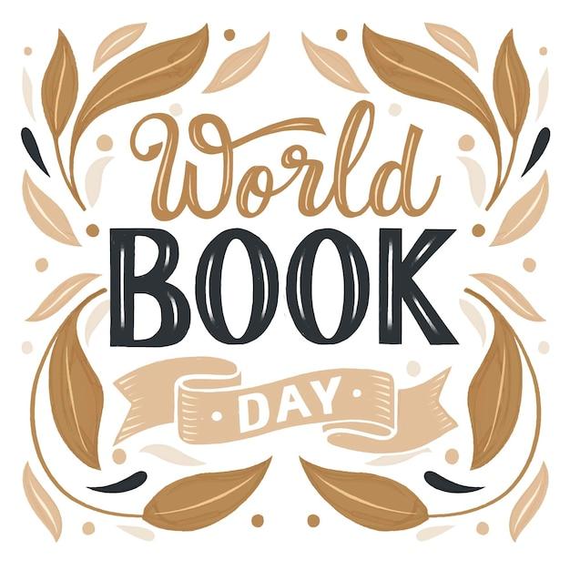 世界図書の日のレタリング Premiumベクター
