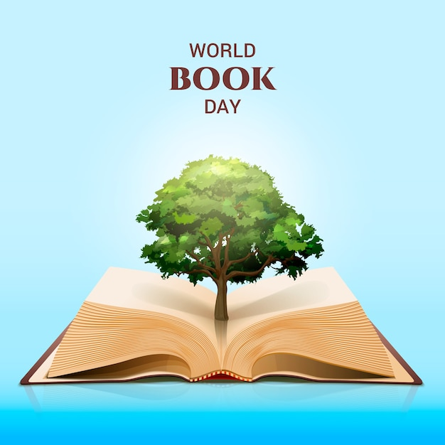 World book day and magical green tree Premium Vector