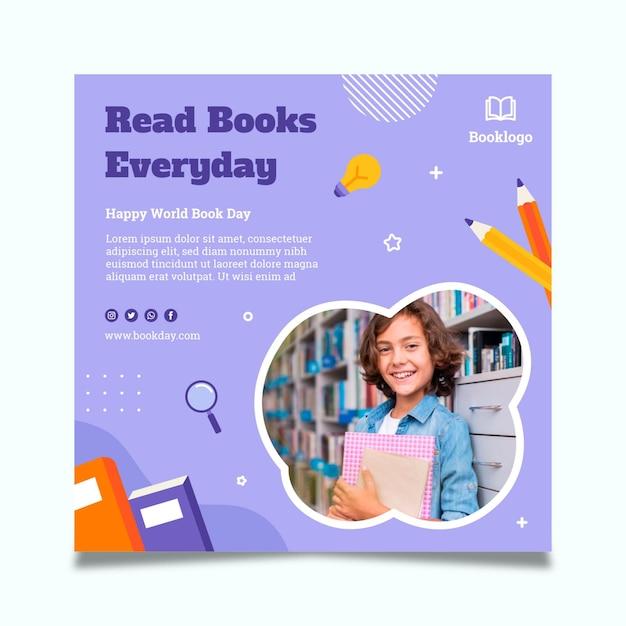 Шаблон флаера всемирного дня книги Бесплатные векторы