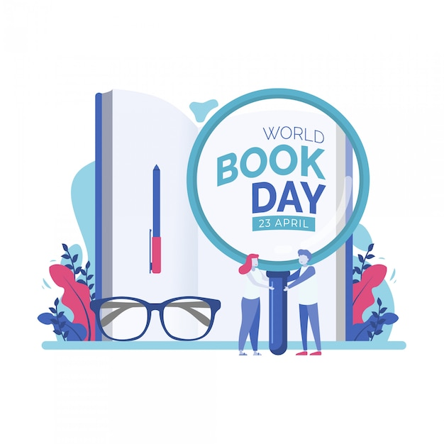 World book day tiny people vector illustration Premium Vector