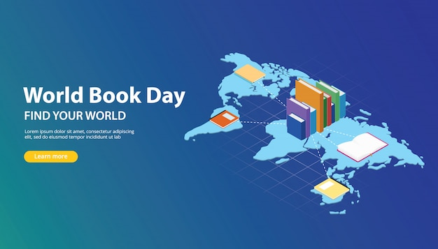 World Book Day Website Banner Design With World Maps Vector
