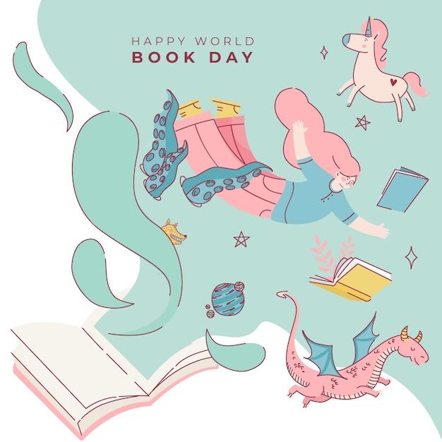 幻想的な生き物がいる世界の本の日 無料ベクター