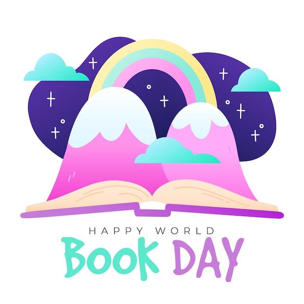 Giornata mondiale del libro con fantasia montagne e arcobaleni Vettore gratuito