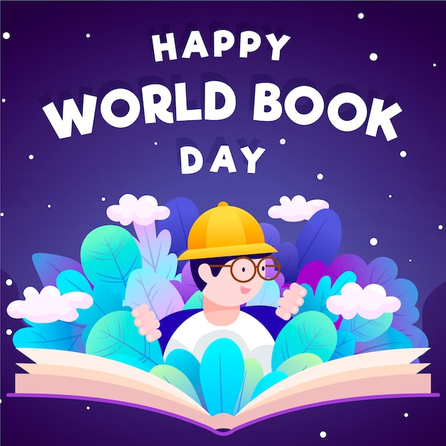 World book day with man reading Premium Vector