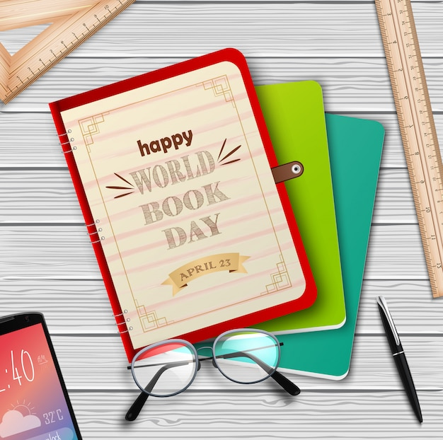 World book day with stack of books Premium Vector