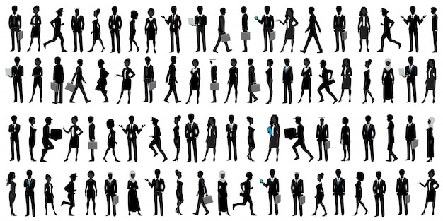 World businesspeople silhouette Premium Vector