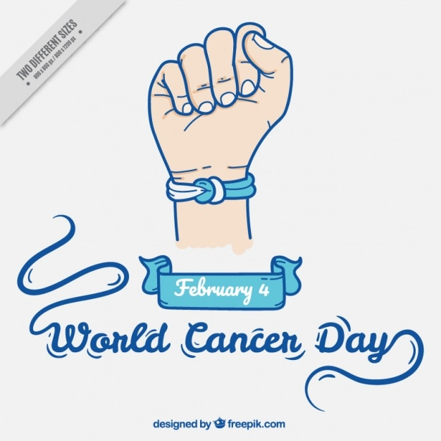 World cancer day background with bracelet Free Vector