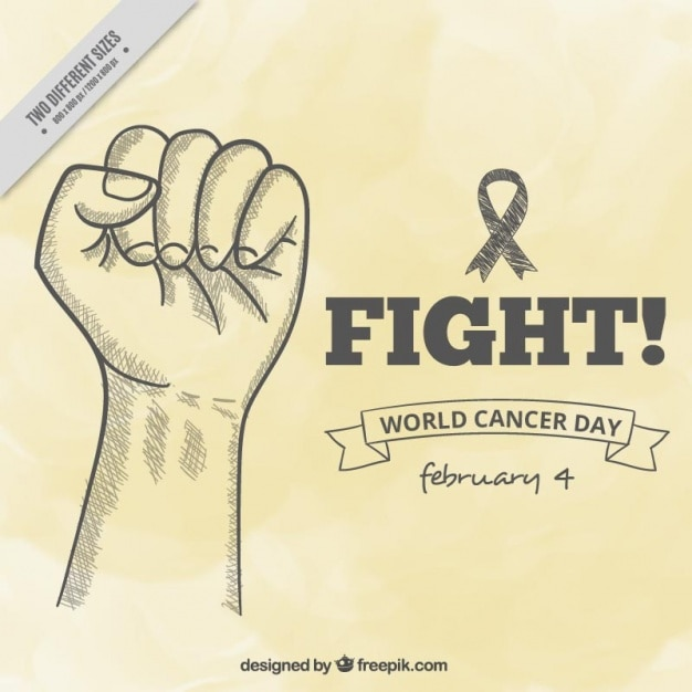 World cancer day background with hand sketch Free Vector