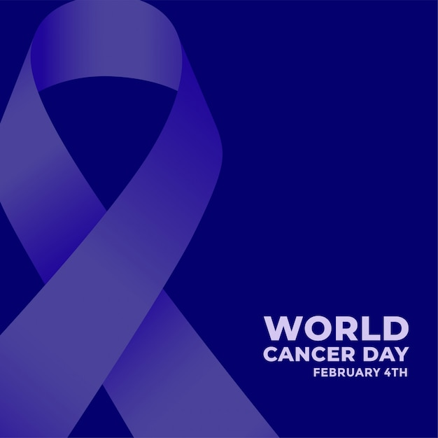 World cancer day blue poster with ribbon Free Vector