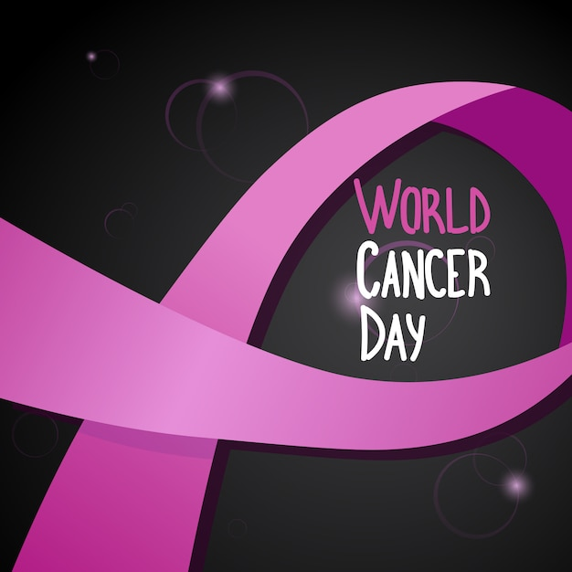 World cancer day breast disease awareness prevention poster greeting card Premium Vector