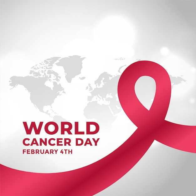 World cancer day campaign background with ribbon Free Vector