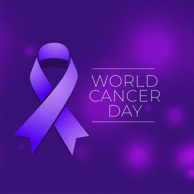 World cancer day event background with ribbon Free Vector