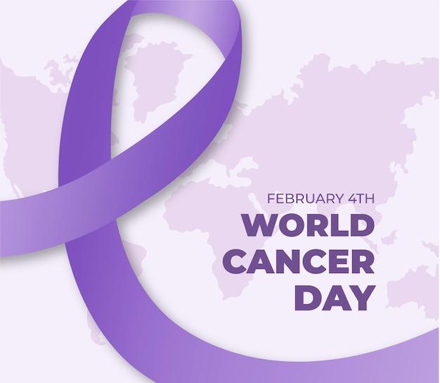 리본으로 세계 암의 날 평면 디자인 배경 무료 벡터