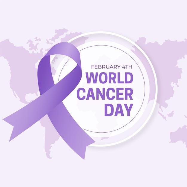 세계 암의 날 평면 디자인 배경 무료 벡터